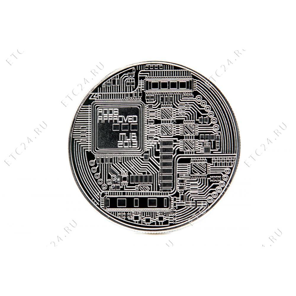 Сувенирная Монета Bitcoin (Silver) Ver2